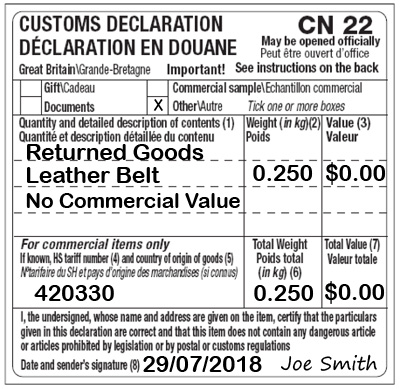 CN22 Completed Sample Customs Form