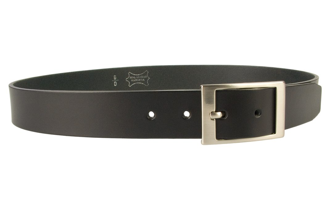 Mens Quality Leather Belt Made In UK - Black - 35mm Wide - Hand Brushed Nickel Plated Buckle - Right Facing View