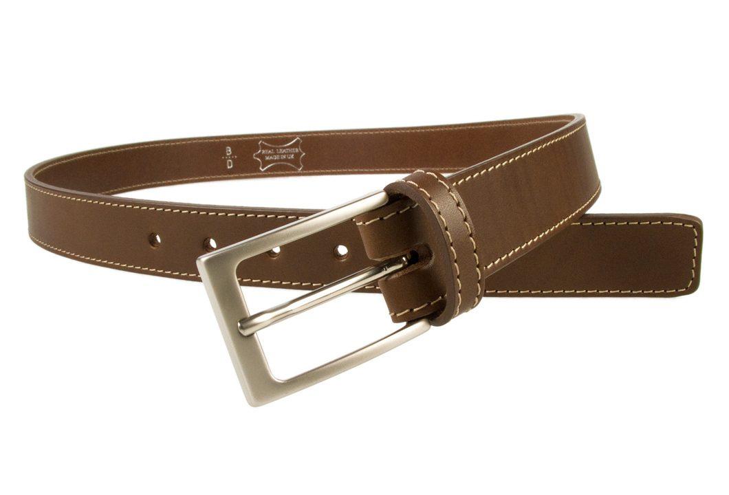 Mens Belt Dress Stitched Edge