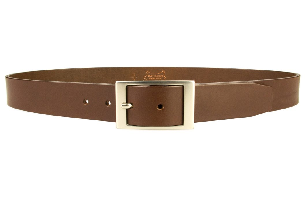 Mens Quality Leather Belt Made In UK - Brown - 1 3/8 inch Wide | Hand Brushed Nickel Plated Center Bar Buckle - Front View