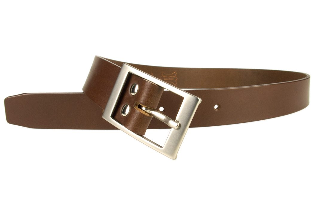 Mens Quality Leather Belt Made In UK - Brown - 1 3/8 inch Wide | Hand Brushed Nickel Plated Center Bar Buckle - Open Image 1