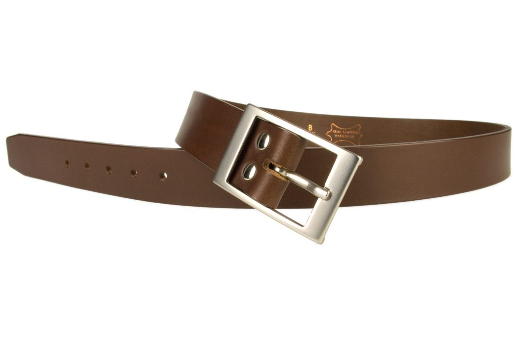 Mens Quality Leather Belt Made In UK - Brown - 1 3/8 inch Wide | Hand Brushed Nickel Plated Center Bar Buckle - Open Image 2