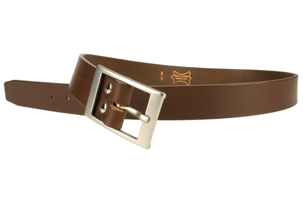 Mens Quality Leather Belt Made In UK - Brown - 1 3/8 inch Wide - Hand Brushed Nickel Plated Buckle - Open Image 3