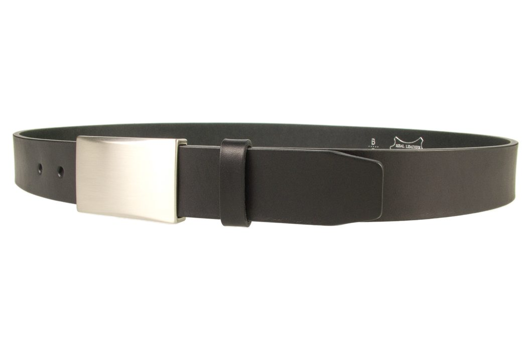 Mens eather belt with plaque buckle - color black