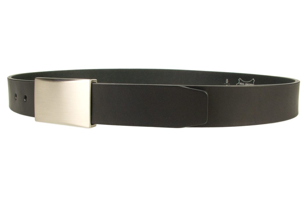 Mens leather belt with plaque buckle - color black