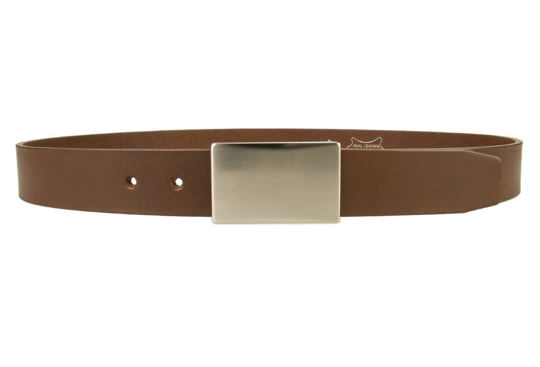 Plaque Belt Brown Leather Made in UK | 35 mm Wide | Full Grain Italian Vegetable Tanned Leather | Hand Brushed Italian Made Nickel Plated Buckle | Free Sliding Loop | Front Image