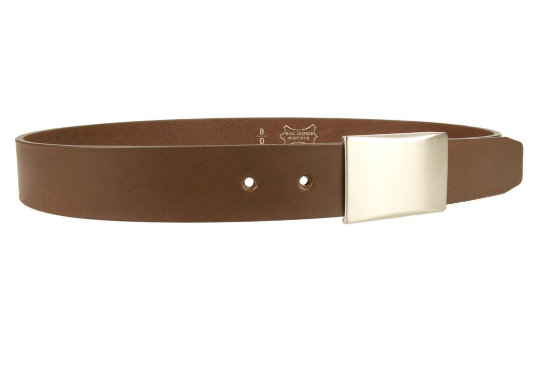 Plaque Belt Brown Leather Made in UK | 35 mm Wide | Full Grain Italian Vegetable Tanned Leather | Hand Brushed Italian Made Nickel Plated Buckle | Free Sliding Loop |Right Facing Image