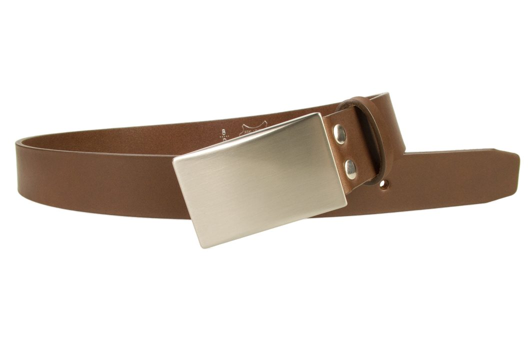 Plaque Belt Brown Leather Made in UK | 35 mm Wide | Full Grain Italian Vegetable Tanned Leather | Hand Brushed Italian Made Nickel Plated Buckle | Free Sliding Loop | Open Image 1