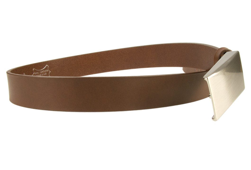 Plaque Belt Brown Leather Made in UK | 35 mm Wide | Full Grain Italian Vegetable Tanned Leather | Hand Brushed Italian Made Nickel Plated Buckle | Free Sliding Loop | Open Image 2