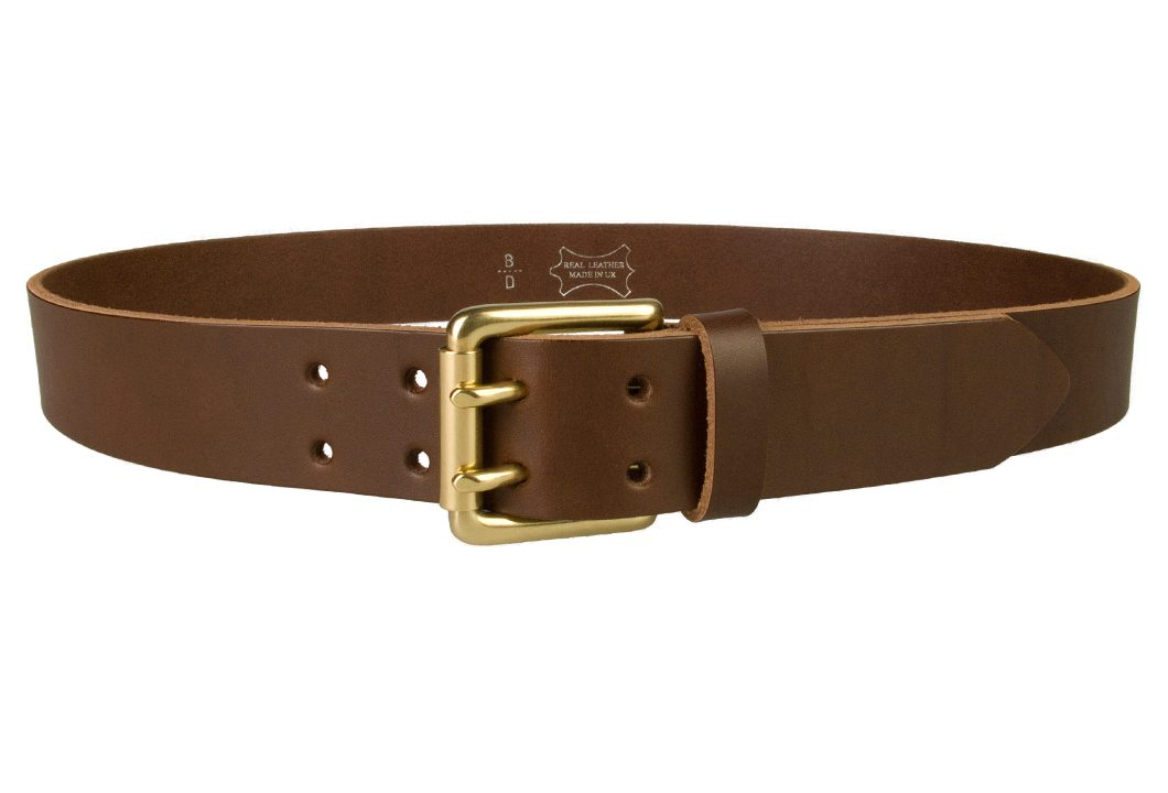 Brass Double Prong Leather Jeans Belt | Brown | Solid Brass Double Prong Roller Buckle | 39 cm Wide 1.5 inch | Vegetable Tanned Leather | Made In UK | Front Image