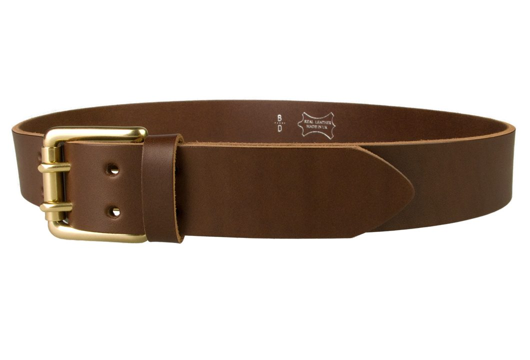 Brass Double Prong Leather Jeans Belt | Brown | Solid Brass Double Prong Roller Buckle | 39 cm Wide 1.5 inch | Vegetable Tanned Leather | Made In UK | Left Facing Image