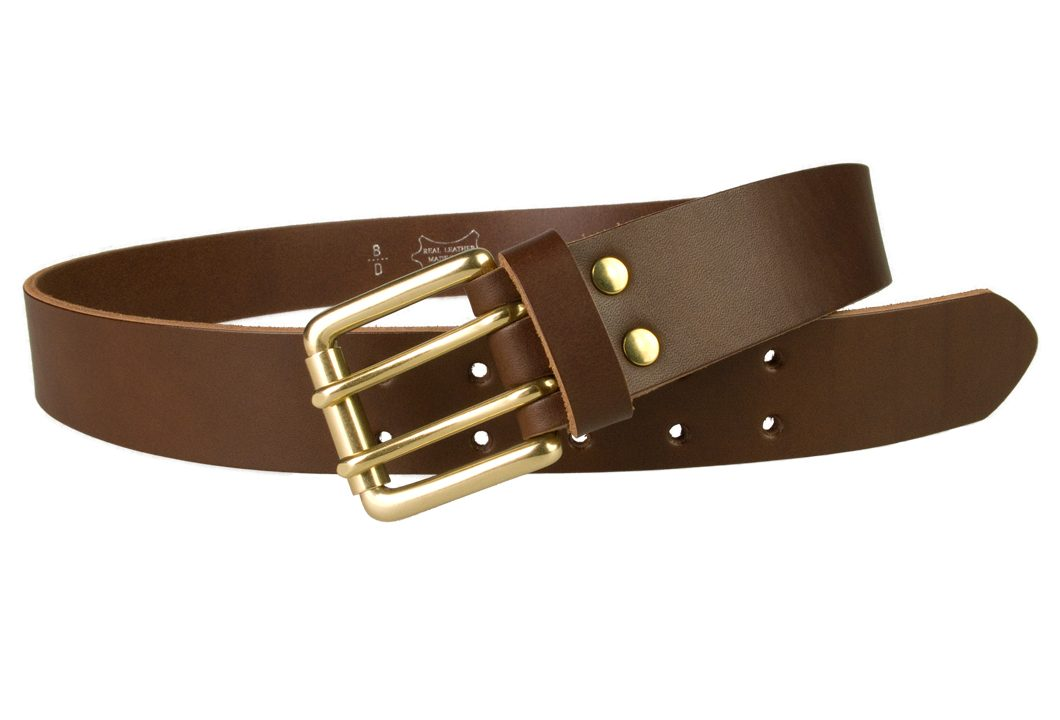 Brass Double Prong Leather Jeans Belt | Brown | Solid Brass Double Prong Roller Buckle | 39 cm Wide 1.5 inch | Vegetable Tanned Leather | Made In UK | Open Image 2