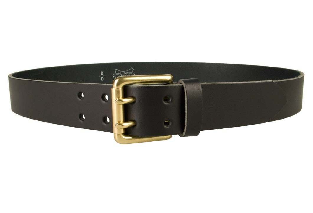 Double Prong Leather Jeans Belt | Black | Solid Brass Double Prong Roller Buckle | 39 cm Wide 1.5 inch | Italian Full Grain Vegetable Tanned Leather | Made In UK | Front Image