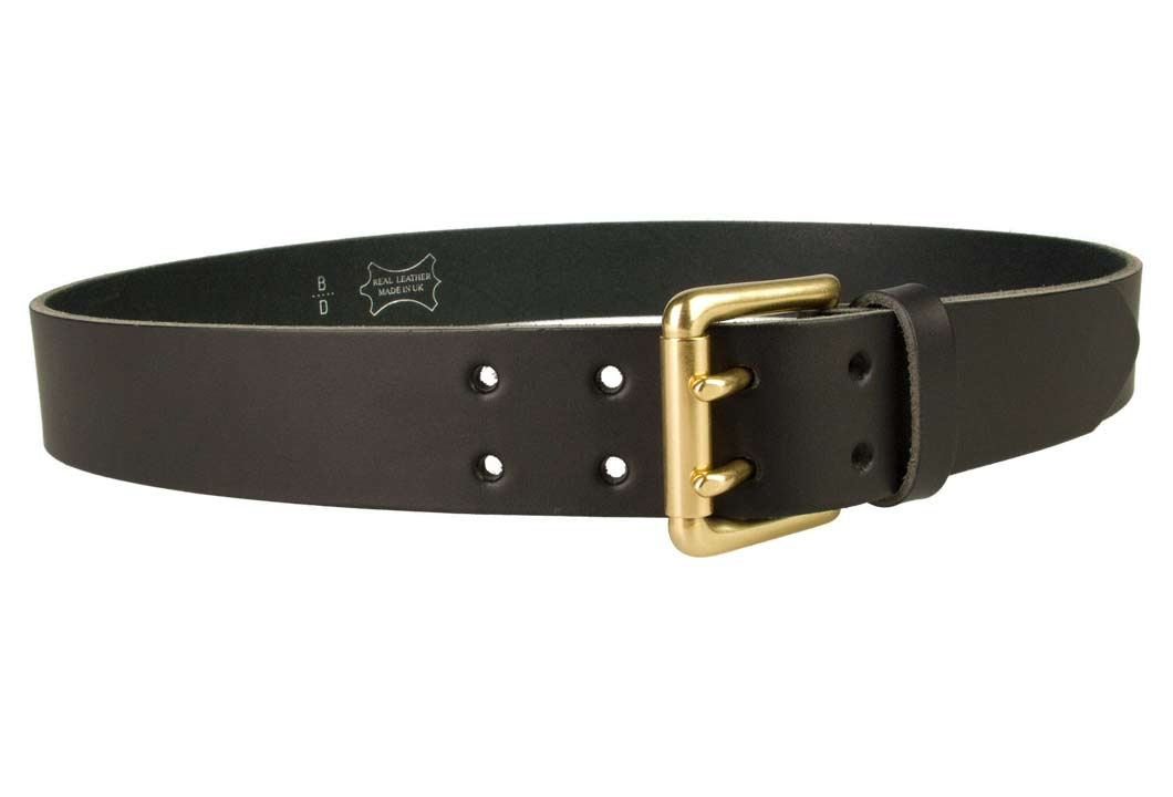 722df2bb6 Double Prong Leather Jeans Belt | Black | Solid Brass Double Prong Roller  Buckle | 39