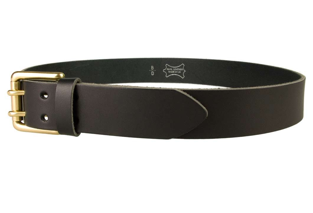 Double Prong Leather Jeans Belt | Black | Solid Brass Double Prong Roller Buckle | 39 cm Wide 1.5 inch | Italian Full Grain Vegetable Tanned Leather | Made In UK | Left Facing Image