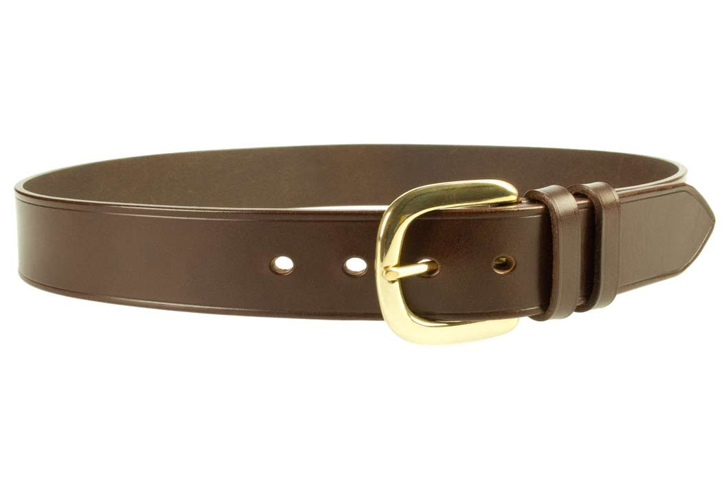 Hand Finished Leather Belt - Made In UK - Brown | 38mm Wide | Two Fixed Keepers | Italian Full Grain Vegetable Tanned Leather | Solid Brass Buckle| Made In UK | Right Facing Image
