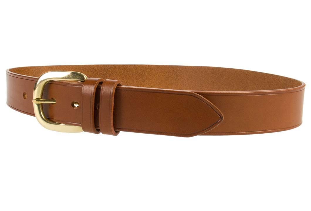 Hand Finished Leather Belt - Made In UK - Tan | 48mm Wide | Two Fixed Keepers | Italian Full Grain Vegetable Tanned Leather | Solid Brass Buckle| Made In UK | Left Facing Image