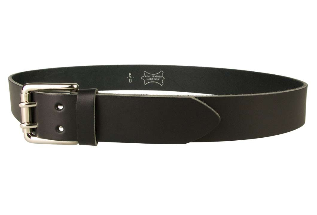 Jeans Belt - Double Prong Roller Buckle | Black | Nickel Plated Solid Brass Double Prong Roller Buckle | 39 cm Wide 1.5 inch | Italian Full Grain Vegetable Tanned Leather | Made In UK | Left Facing Image