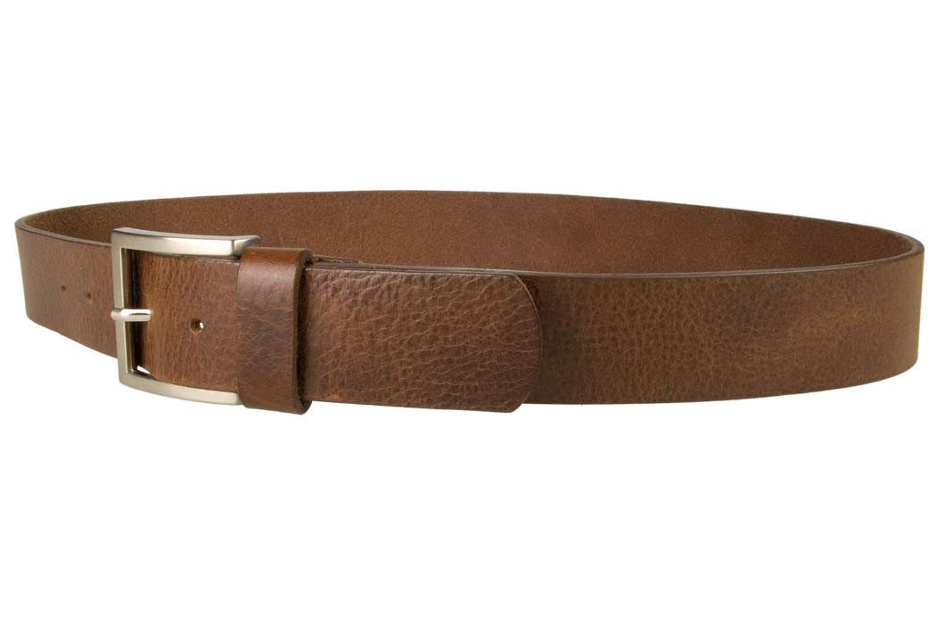 Mens Leather Jeans Belt | Brown | Rough Brushed Matt Nickel Plated Buckle | 40 cm Wide 1.5 inch | Italian Full Grain Vegetable Tanned Leather | Made In UK | Left Facing Image