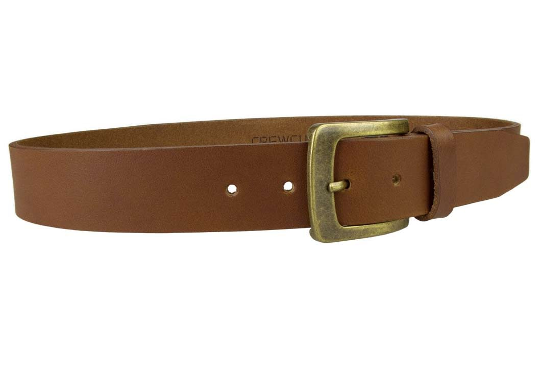 Tan Leather Jeans Belt | 40mm Wide | Italian Full Grain Vegetable Tanned Leather | Old Brass Look Buckle | Made In UK | Right Facing Image