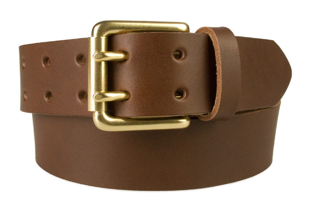 Brass Double Prong Leather Jeans Belt | Brown | Solid Brass Double Prong Roller Buckle | 39 cm Wide 1.5 inch | Vegetable Tanned Leather | Made In UK | Front Rolled Image