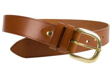 Hand Finished Leather Belt - Made In UK - Tan| 48mm Wide | Two Fixed Keepers | Italian Full Grain Vegetable Tanned Leather | Solid Brass Buckle| Made In UK | Open Image 1