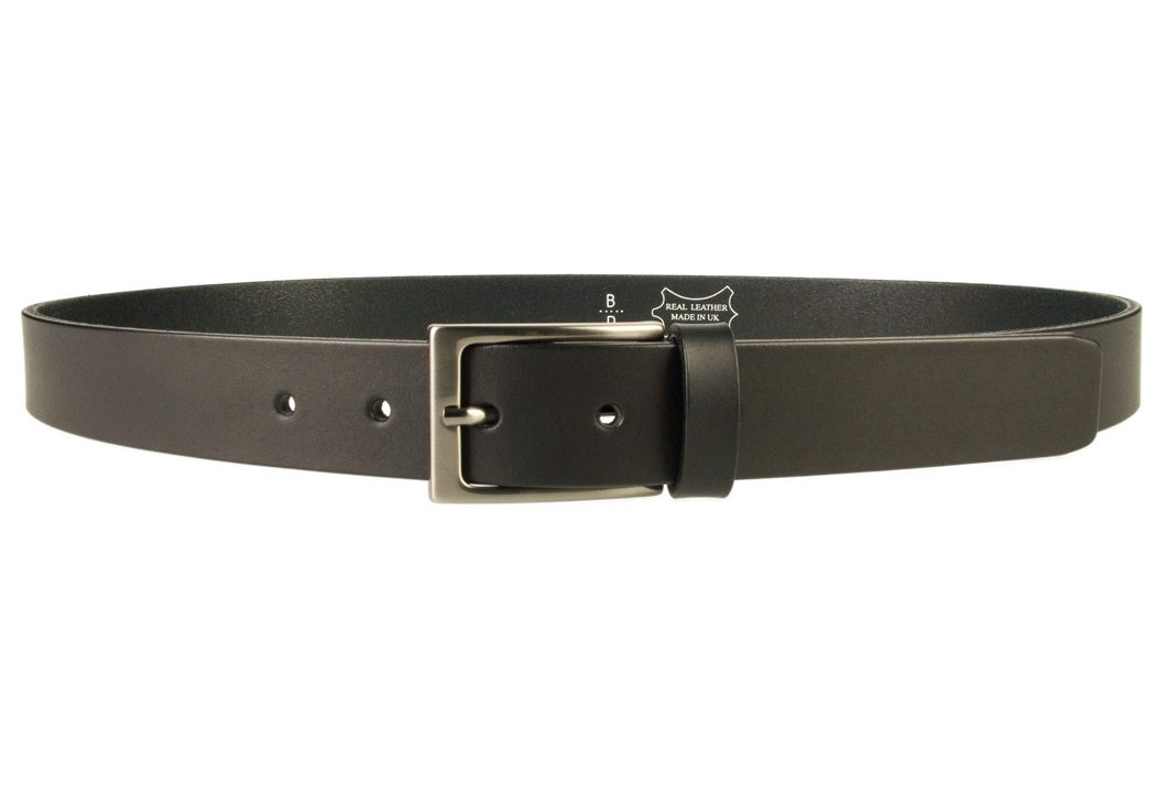 Mens Black Leather Belt With Gun Metal Buckle | Black | 30 mm Wide | |Made In UK | Front Image