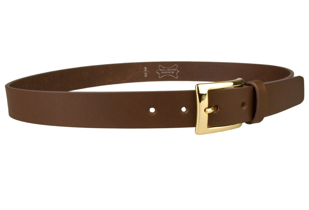 Mens Brown Leather Belt With Gold Buckle | Gold Plated Italian Made Buckle | High Quality Italian Vegetable Tanned Leather | 30mm Wide | Made In UK by Belt Designs | Right Facing Image
