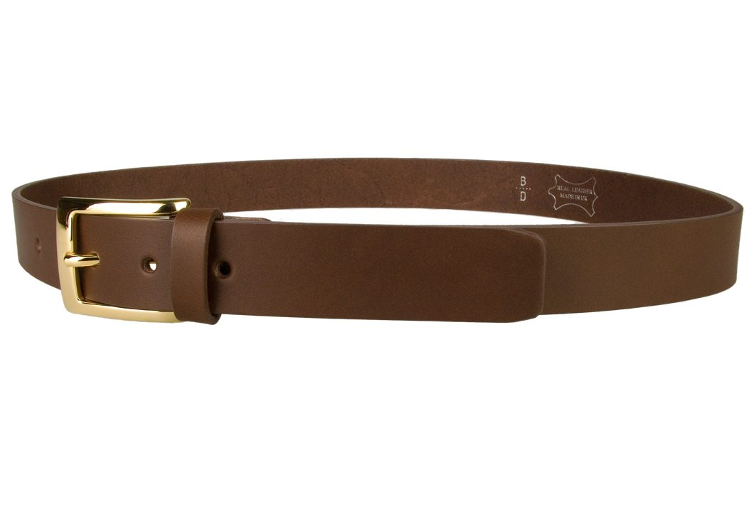 Mens Brown Leather Belt With Gold Buckle | Gold Plated Italian Made Buckle | High Quality Italian Vegetable Tanned Leather | 30mm Wide | Made In UK by Belt Designs | Left Facing Image