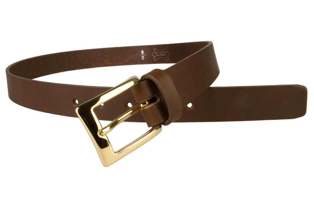 Mens Brown Leather Belt With Gold Buckle | Gold Plated Italian Made Buckle | High Quality Italian Vegetable Tanned Leather | 30mm Wide | Made In UK by Belt Designs |Open Image 1