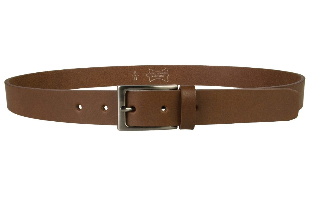 Mens Brown Leather Belt With Gun Metal Buckle, 30 mm Wide, Made In UK, Front Image