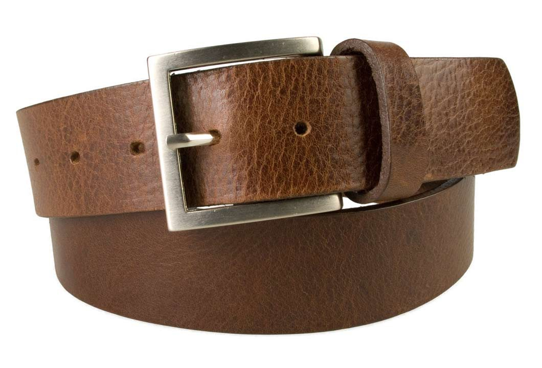 Mens Leather Jeans Belt | Brown | Rough Brushed Matt Nickel Plated Buckle | 40 cm Wide 1.5 inch | Italian Full Grain Vegetable Tanned Leather | Made In UK | Front Rolled Image