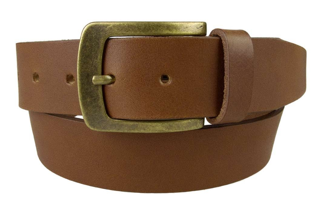 Tan Leather Jeans Belt | 40mm Wide | Italian Full Grain Vegetable Tanned Leather | Old Brass Look Buckle | Made In UK | Front Rolled Image