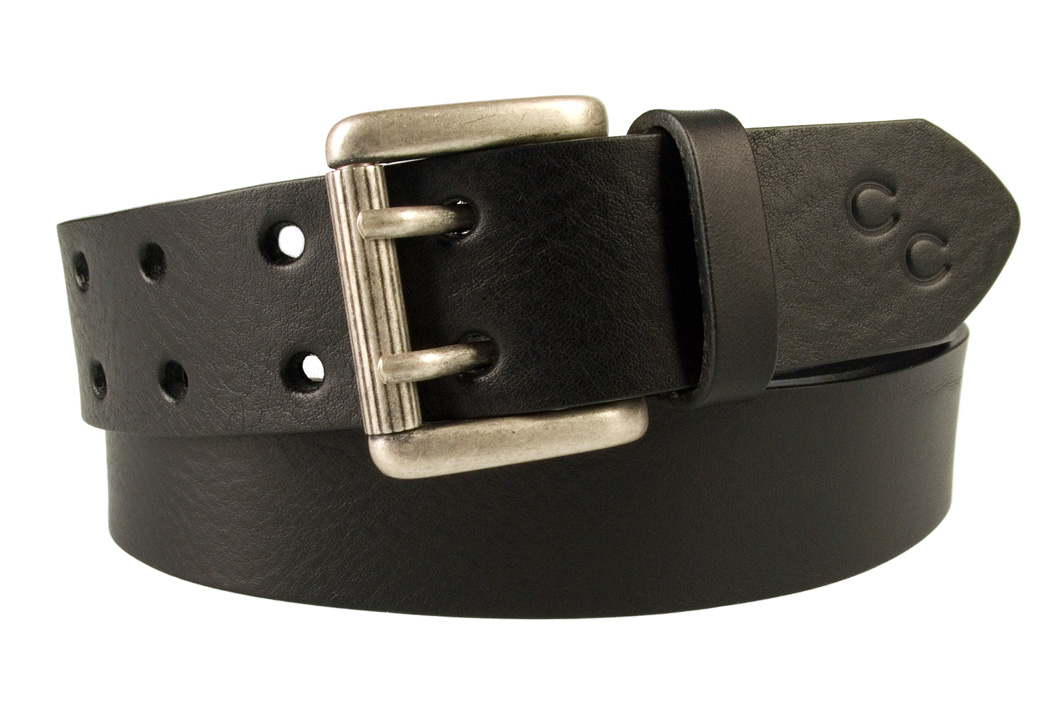Ladies Black Leather Jeans Belt with Double Prong Buckle Made In UK c6482aa48f