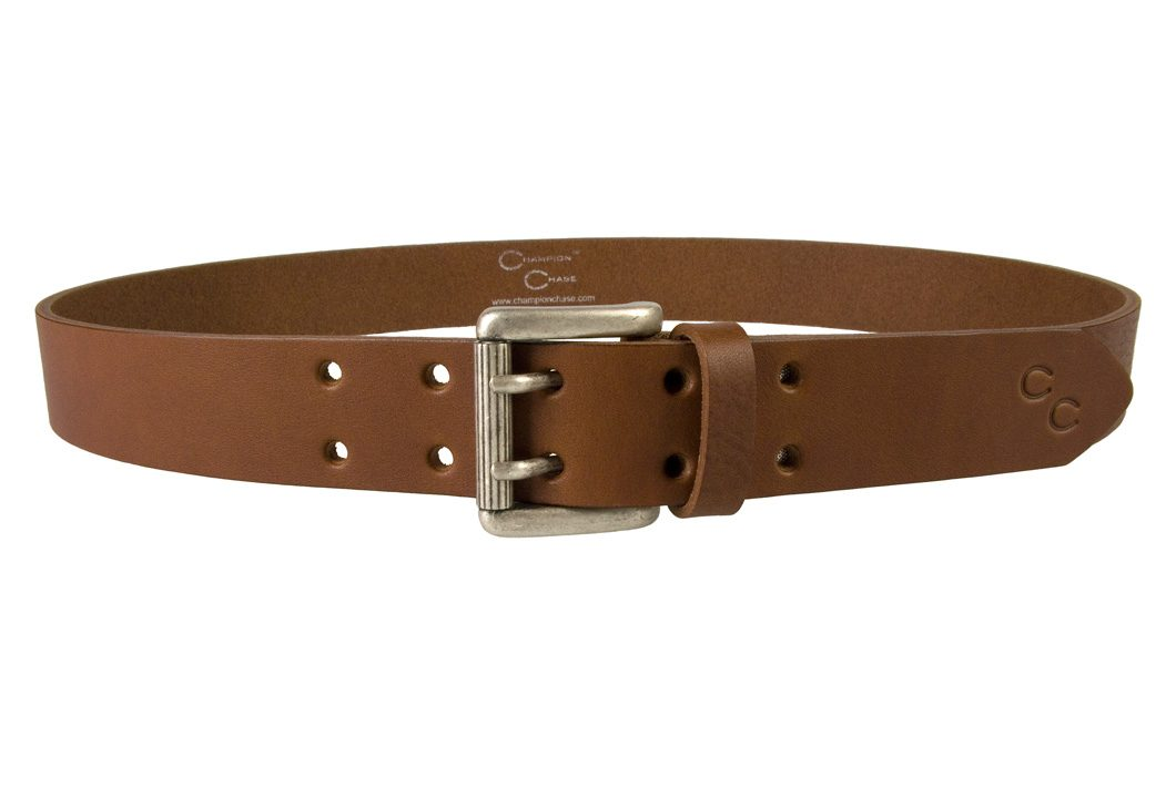 Womens Tan Leather Belt. High quality leather belt made in the UK by Champion Chase. Made In UK by Champion Chase - Front Facing View