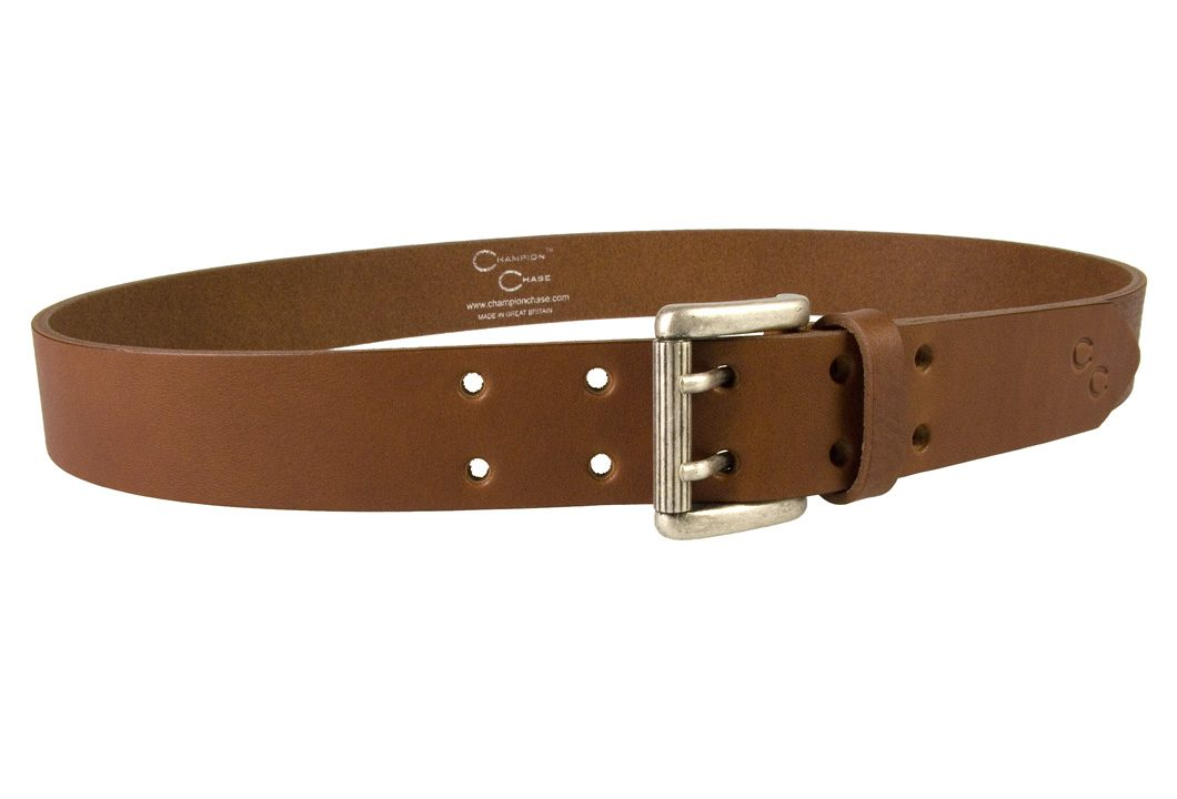 Ladies Tan Leather Belt Made In UK by Champion Chase - Right Facing View