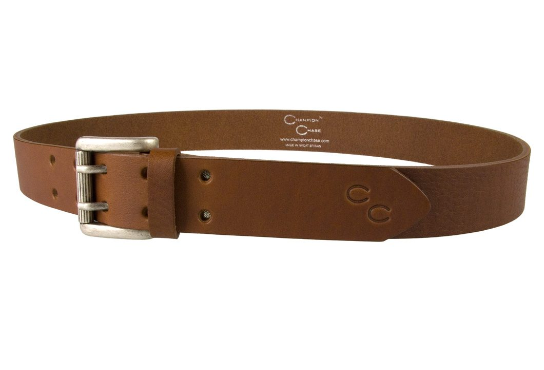 Womens Tan Leather Belt. Made In UK by Champion Chase - Left Facing View