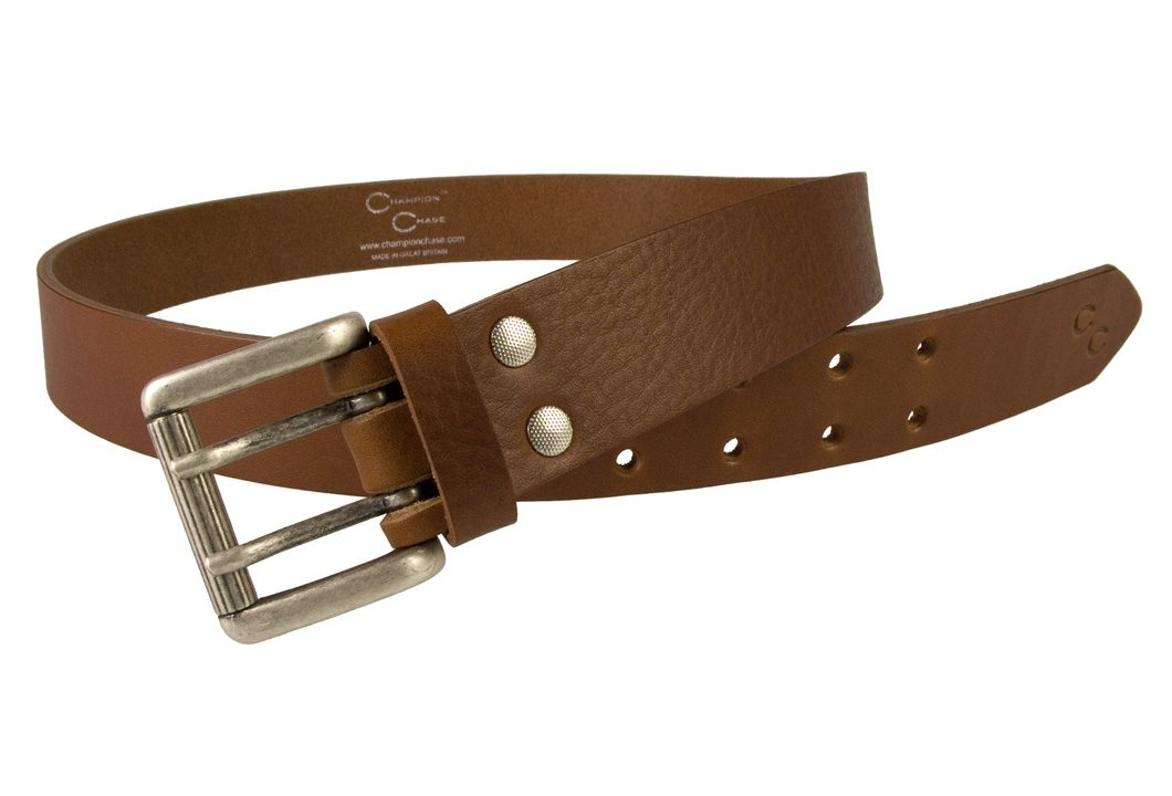 Womens Tan Leather Belt. Made In UK by Champion Chase - Open View 2