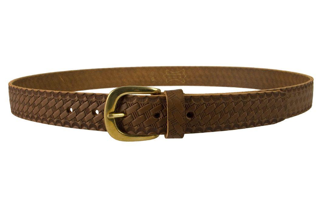 Mens Retro Vintage Look Leather Belt - Front View