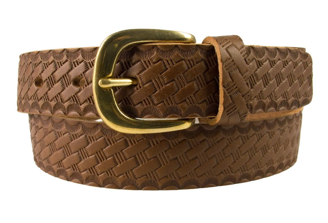 Mens Retro Vintage Look Leather Belt - Rolled View