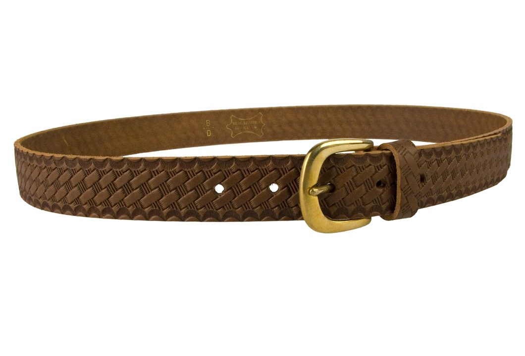 Mens Retro Vintage Look Leather Belt - Right View