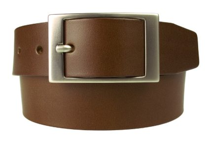 Mens Quality Leather Belt Made In UK - Brown - 1 3/8 inch Wide | Hand Brushed Nickel Plated Center Bar Buckle | Front Rolled Image