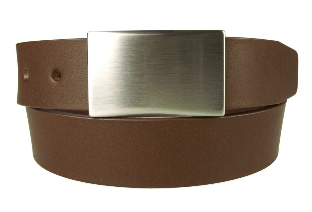 Plaque Belt Brown Leather Made in UK | 35 mm Wide | Full Grain Italian Vegetable Tanned Leather | Hand Brushed Italian Made Nickel Plated Buckle | Free Sliding Loop | Front Rolled Image