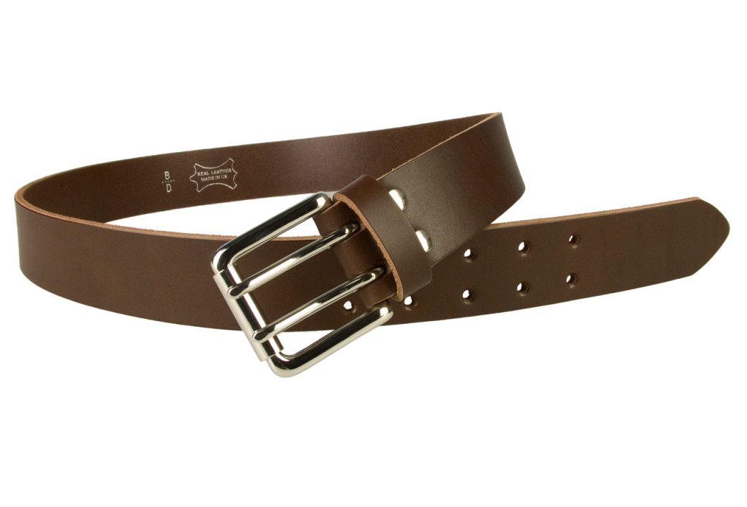 Leather Jeans Belt - Double Prong Roller Buckle | Brown | Nickel Plated Solid Brass Double Prong Roller Buckle | 39 cm Wide 1.5 inch | Italian Full Grain Vegetable Tanned Leather | Made In UK | Open Image 1