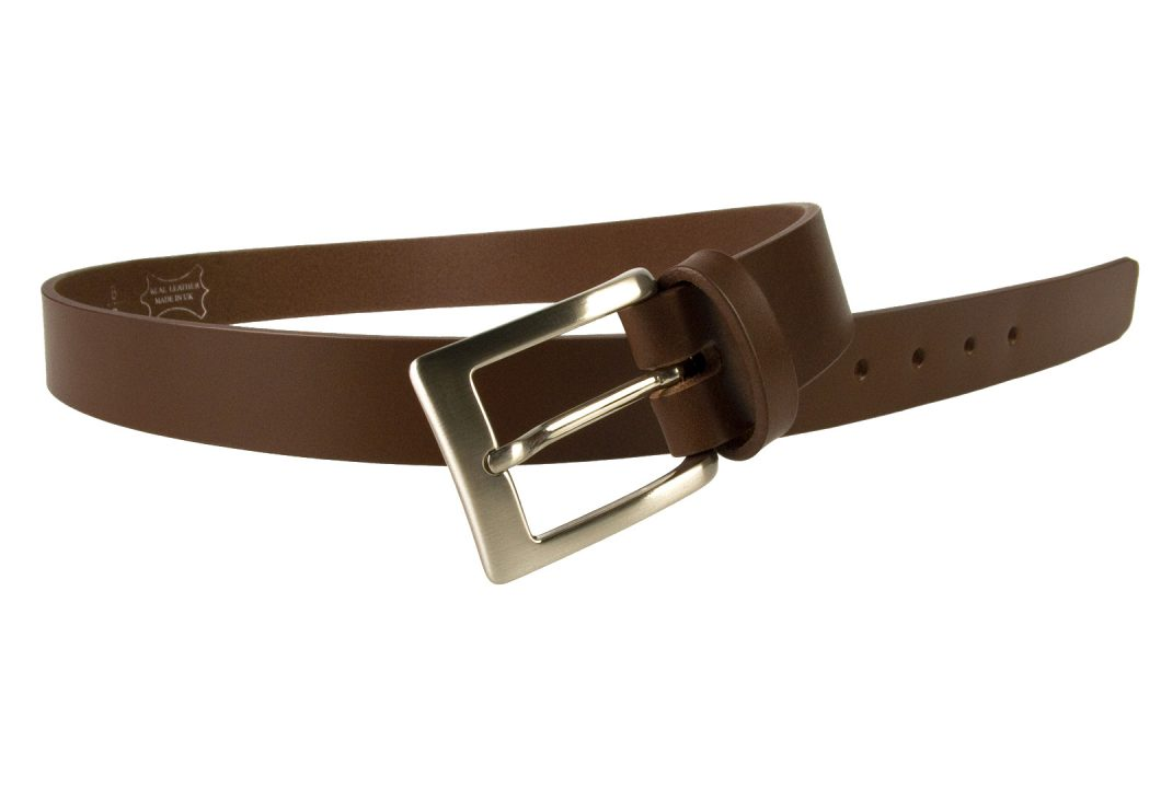 Mens High Quality Brown Leather Belt Made in UK | 30mm Wide | Hand Brushed Nickel Plated Buckle | Made In UK | Open Image 2