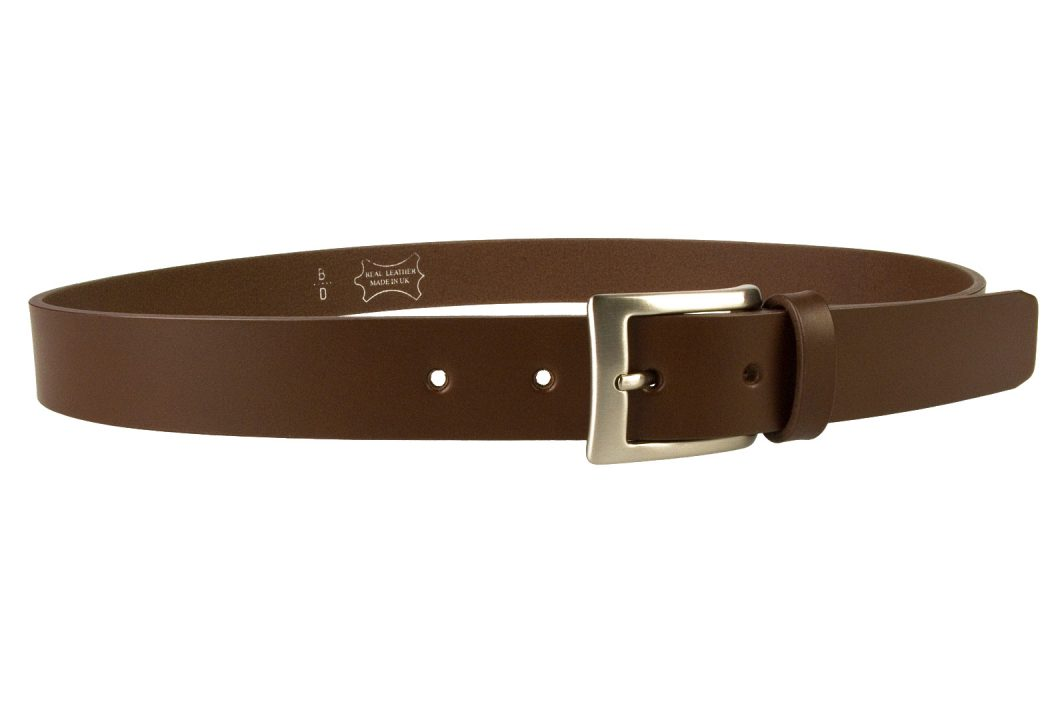 Mens High Quality Brown Leather Belt Made in UK | 30mm Wide | Hand Brushed Nickel Plated Buckle | Made In UK | Right Facing Image