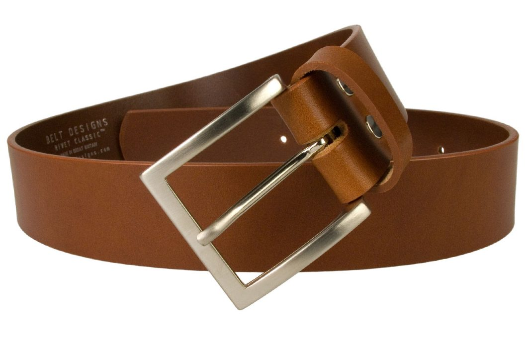 "British Made Tan Leather Jeans Belt 1.57"" Wide (4cm) Approx. Superior quality mens leather jeans belt made in UK by British Craftsmen. Top Grade Italian Full Grain Vegetable Tanned Leather. Italian Made Buckle. Leather approximately 4mm thick."