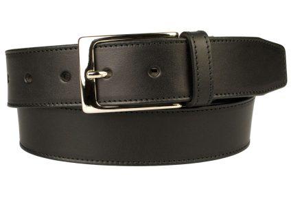 British Stitched Edge Black Leather Belt 1 3/8 Inch Wide