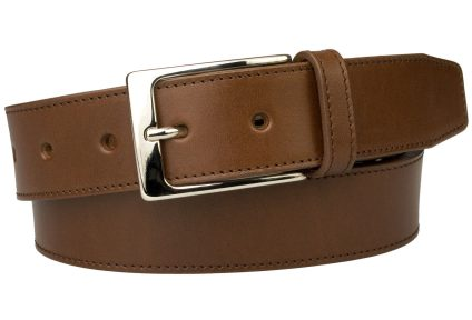 British Stitched Edge Brown Leather Belt 1 3/8 Inch Wide. This high quality leather belt comes with a matching stitched edge to give a neat defined finish which compliments smart attire. Made with one single piece of Italian vegetable tanned leather along with a shiny nickel Italian made buckle and quality strong long lasting German made thread.
