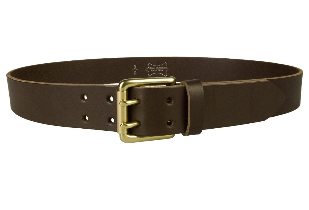 Dark Brown Jeans Belt With Solid Brass Buckle.A superior quality British made Dark Brown leather jeans belt with Solid Brass Buckle. Made with one single piece of Italian vegetable tanned leather along with Italian made double prong roller buckle. A smart addition to a pair of jeans or casual outfit. 1.5 Inch Wide. Full Grain Vegetable Tanned Leather. Approx 4mm thick.